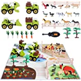 TUMAMA Take Apart Vehicle Toys and Farm Playset with Large Activity Play Mat,Play Farm Toys Sets with Farm Animal Figures and