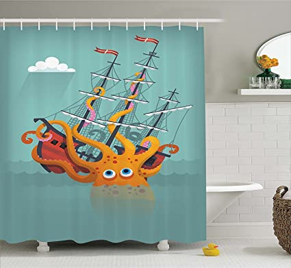 Mirryderr Kraken Decor Shower Curtain Giant Squid Sinking A Pirate Boat Into Ocean Anchor Ship
