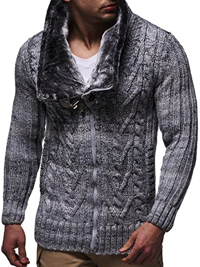 a31a14591d06 LEIF NELSON Herren Woll Strick-Jacke   Casual Strick-Hoodie Slim Fit    Moderner