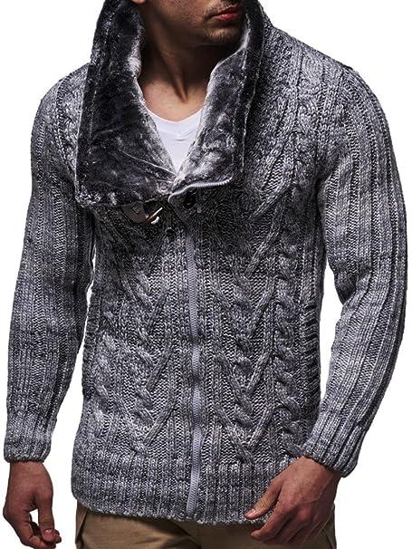 LEIF NELSON los Hombres suéter con Capucha de la Chaqueta con Capucha suéter de Punto LN20523