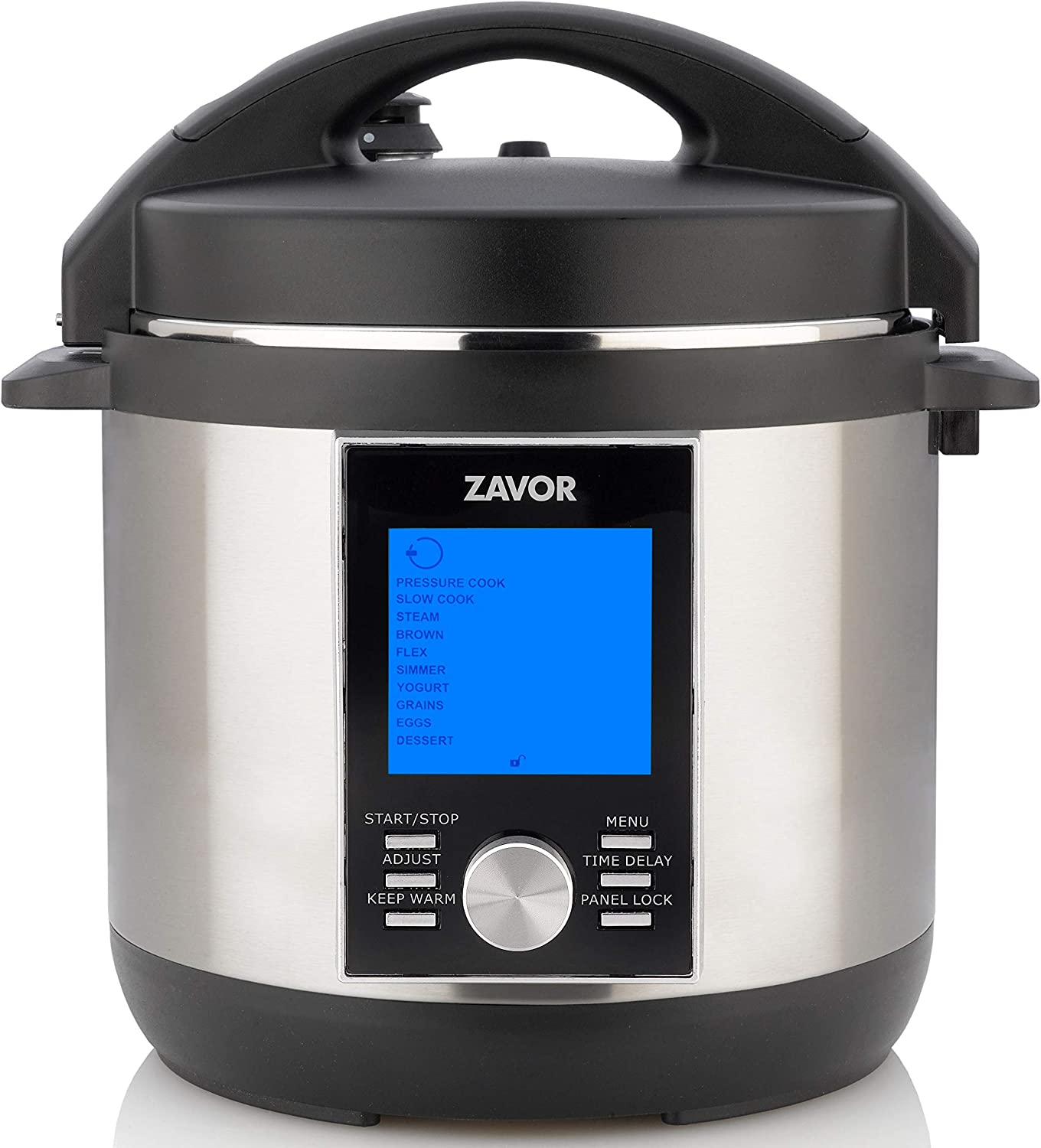 Zavor LUX LCD 4 Quart Programmable Electric Multi-Cooker: Pressure Cooker, Slow Cooker, Rice Cooker, Yogurt Maker, Steamer and more - Stainless Steel (ZSELL01)