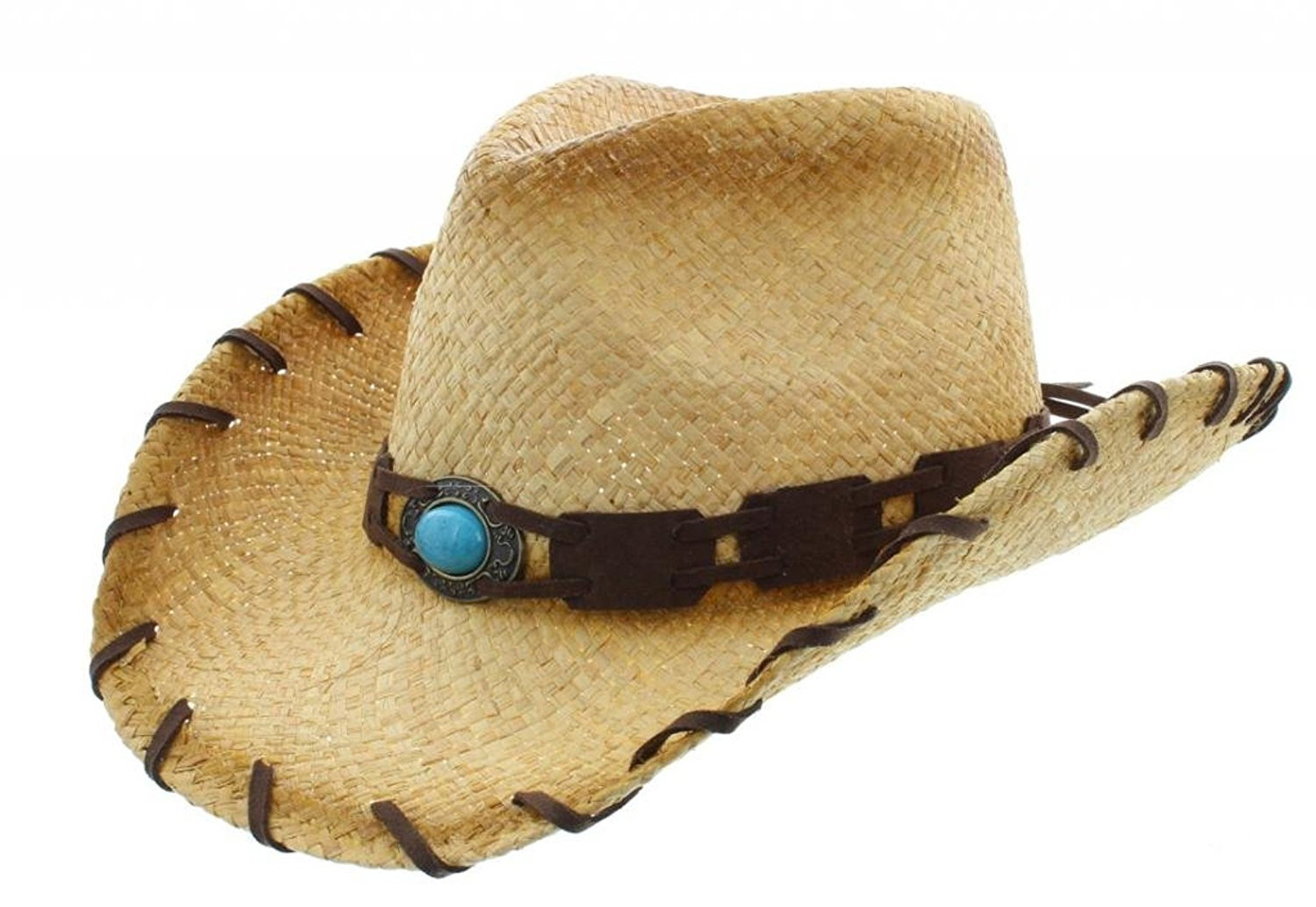 Men's & Women's Western Style Cowboy Cowgirl Straw Hat (026-Natural)