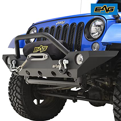 EAG 07 18 Jeep Wrangler JK Rock Crawler Off Road Front Bumper With Winch  Mounting