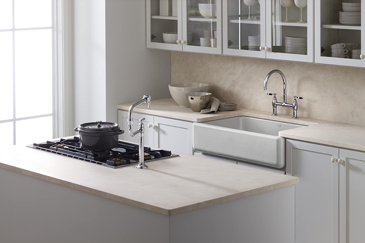 KOHLER K 6489 47 Whitehaven Self Trimming Apron Front Single Basin Sink  With Tall Apron, Almond     Amazon.com