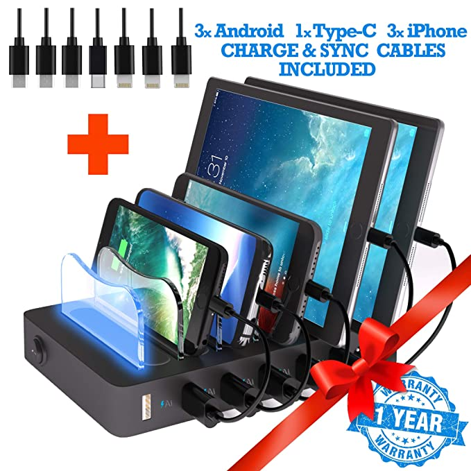 39851393acf Amazon.com: TIMSTOOL 6 USB Charging Station for Multiple Devices - No Buzz  - LED Indication - Smart Fast Charging Dock Compatible with iPhone iPad  Cellphone ...