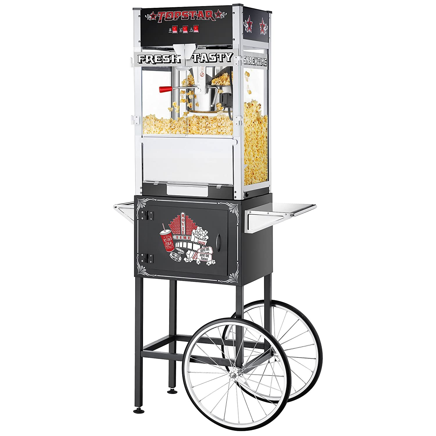 Great Northern Black Commercial Quality Popcorn Popper Machine with Cart, 12 Ounce 799044