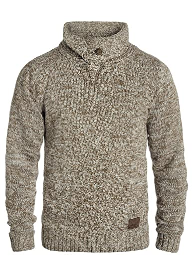 87a9abab5 !Solid Prentice Pull en Grosse Maille Pull-Over Tricot pour Homme avec Col  Droit 100% Coton