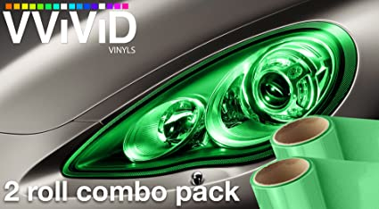 "16/""x48/"" 2-roll Pack VViViD Air-Tint Smoke Black Gloss Vinyl Headlight Foglight"