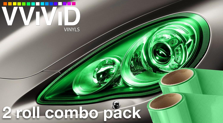 VViViD Air-Tint Emerald Green Gloss Vinyl Headlight Foglight Transparent Tint Wrap Self-Adhesive (12' x 24', 2-roll pack)