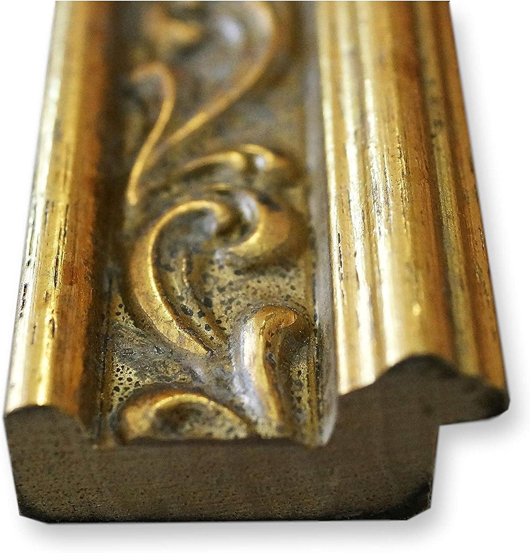 Holz Antik Online Galerie Bingold Spiegel Wandspiegel Gold DIN A0 Massiv 84,1 x 118,9 cm Verona Vintage Landhaus AM - Barock Alle Gr/ö/ßen