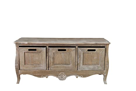 Bordeaux contenitore panca in legno in stile francese shabby chic
