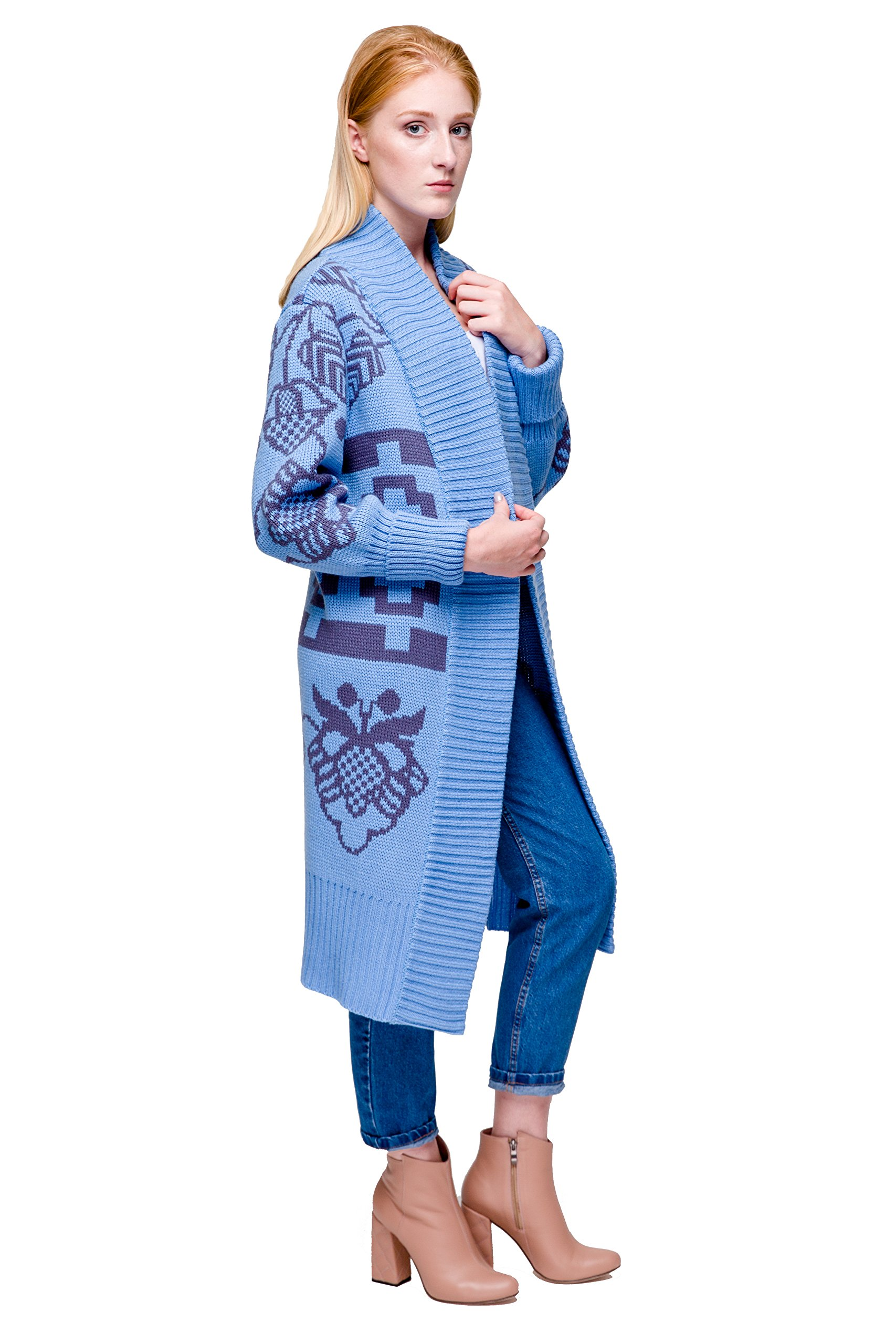 Long Knitted Cardigan Sweater For Women and Girls With Ethno-Inspired Ornament (Blue-Gray)