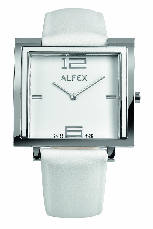 Alfex Damen-Armbanduhr Analog Leder Weiß 5699_851