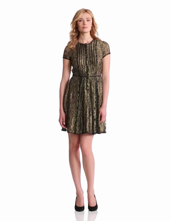 BCBGMAXAZRIA Womens Galine Lace Dress With Stripping Detail