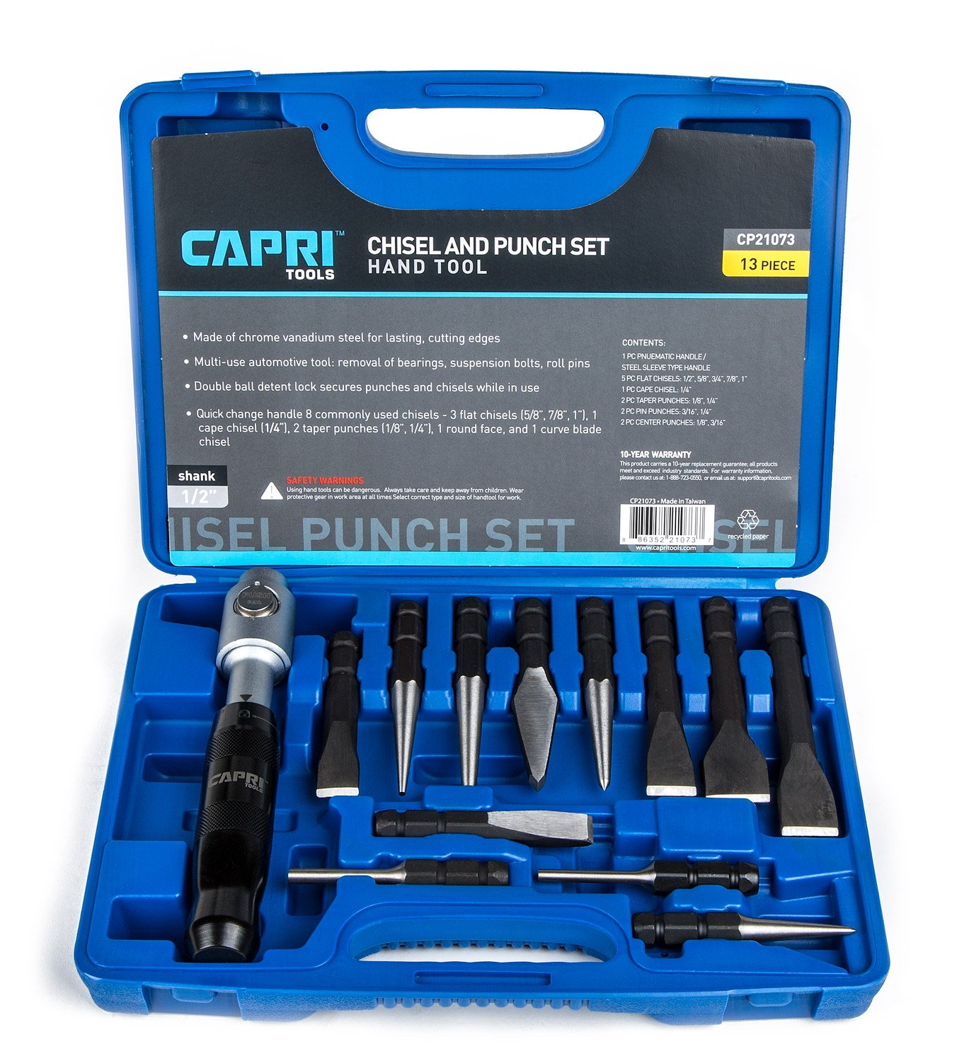 Capri Tools 21073 Chisel and Punch Set with Removable Handle, Black, 13 Piece