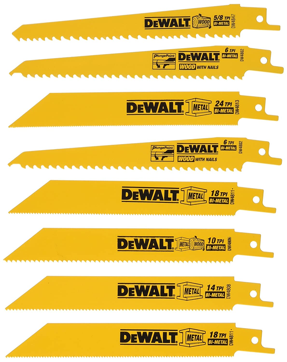 DEWALT DW4858 8 Piece Reciprocating Saw Blade Set