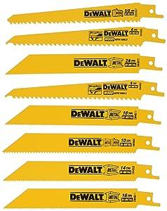DEWALT DW4858 8 Piece Reciprocating Saw Blade Set