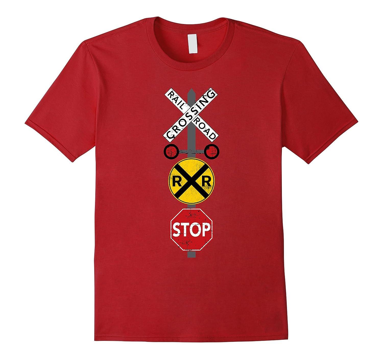 Railroad Train Crossing Warning Shirt Train Worker Engineer-TH