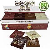 Organic Chai Tea Variety Pack - Organic Chai Tea Sampler - 80 Tea Bags - 20 of Each Flavor (2 grams each) by Kiss Me Organics