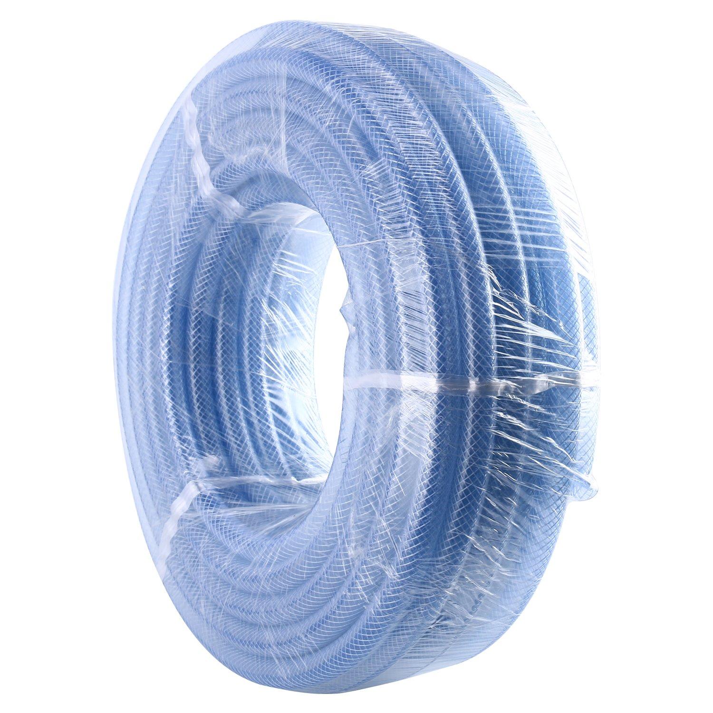 "Homend High Pressure Braided Clear Flexible Industrial PVC Tubing Heavy Duty UV Chemical Resistant Vinyl Hose Water (3/8"" ID X 100FT)"