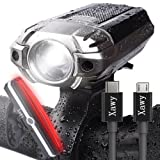 Super Bright USB Rechargeable Bike Light - Xawy X1 390 Lumens Headlight - Front Light & LED Bike Tail Light Set. Waterproof - Cycling Safety Commuter Flashlight For Mountain, Road, Kids & City Bicycle