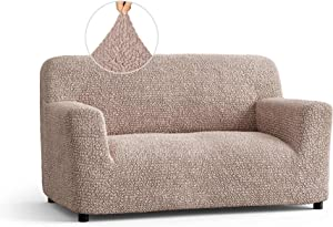 Loveseat Slipcover -2 Seater Couch Cover - Soft Polyester Fabric Slipcovers - 1-Piece Form Fit Stretch Furniture Cover - Microfibra Collection - Cipria (Loveseat)