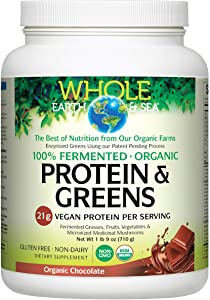 Whole Earth & Sea from Natural Factors, Organic Fermented Protein & Greens, Whole Food Supplement, Vegan, Non-Dairy, Chocolate, 1 lb 9 oz (20 Servings)