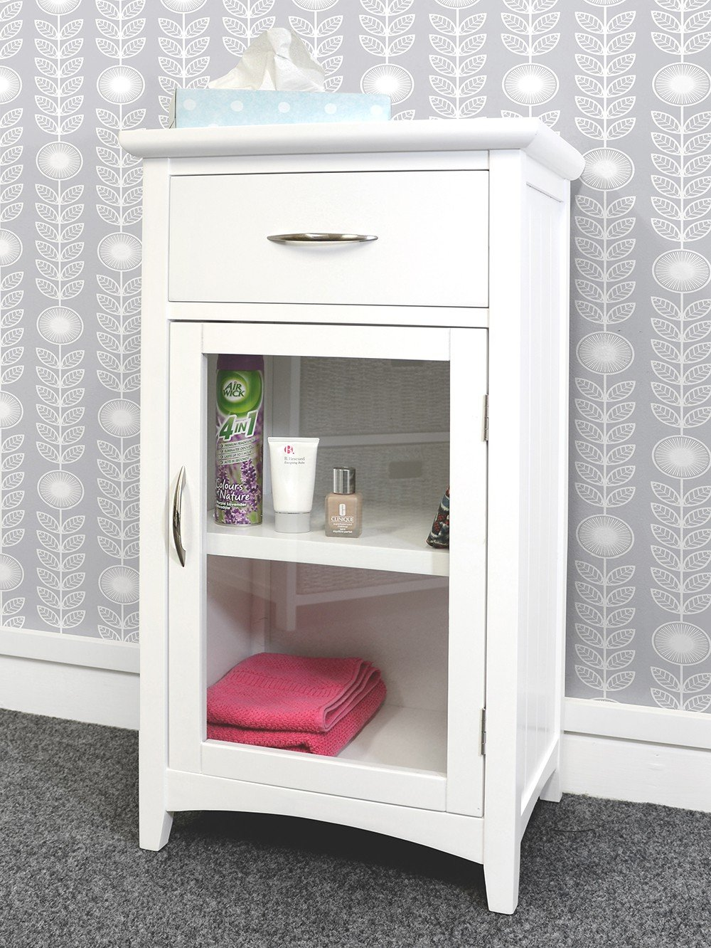Ascot vanity unit, FULLY ASSEMBLED glass door cabinet in Black White, brushed chrome handles, bathroom storage (black)