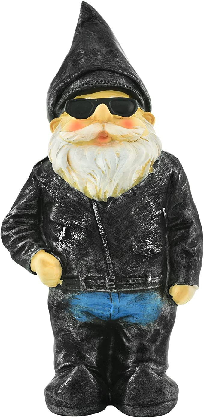 Funny Garden Gnome Drunk Biker Bikie Harley Davidson Bike Statue Novelty Gift