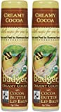 Badger Cocoa Butter Lip Balm-Creamy Cocoa, 2 pack