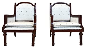 Inusitus Set of 2   Wooden Dollhouse Armchairs   Dinning Lounge Chairs   Dolls House Furniture   Dark Brown Walnut Finish   1/12 Scale