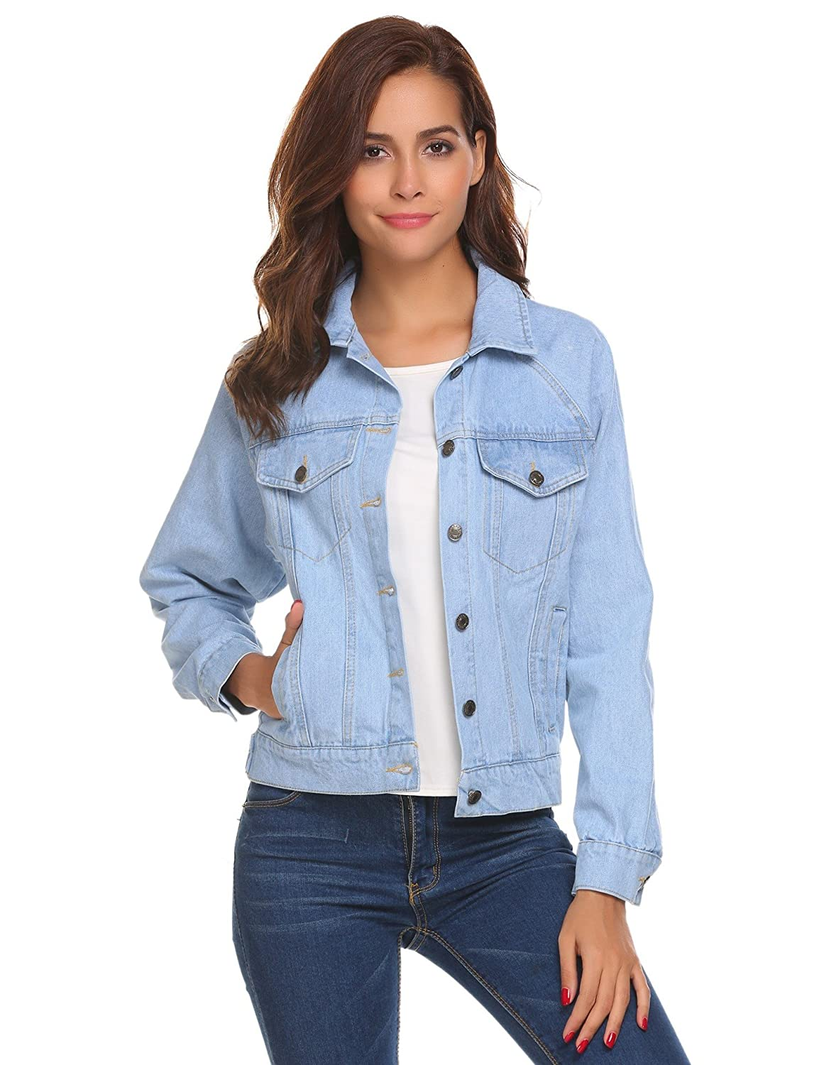 ODlover Womens Basic Denim Jean Jacket Classic Truker Jackets