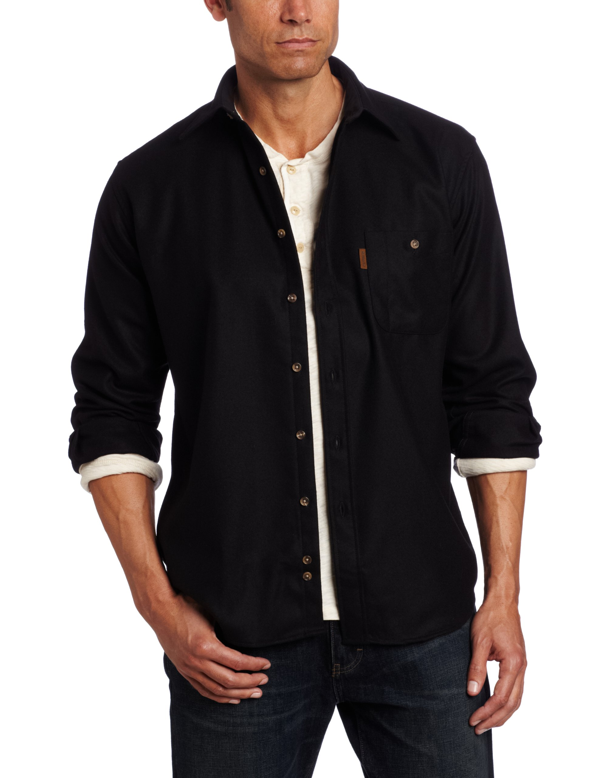 Pendleton Men's Long Sleeve Button Front Classic-Fit Trail Shirt, Black Flannel-20042, LG