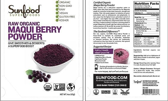 Amazon Com Sunfood Super Foods Raw Organic Maqui Berry Powder