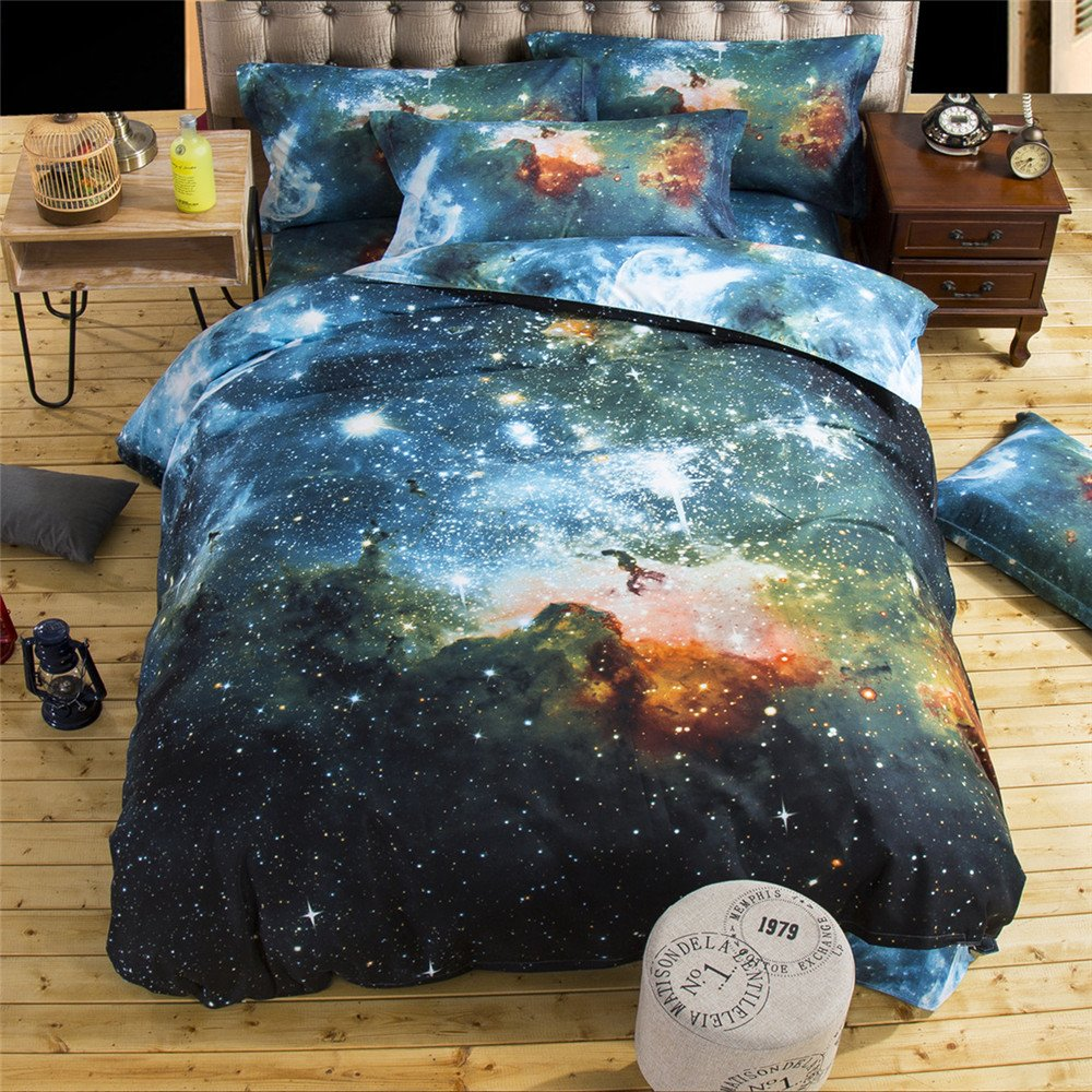 HOMIGOO Galaxy Printed Bedding Set Soft Comforter Cover 3D Printed Bed Sheet Set Twin Color F