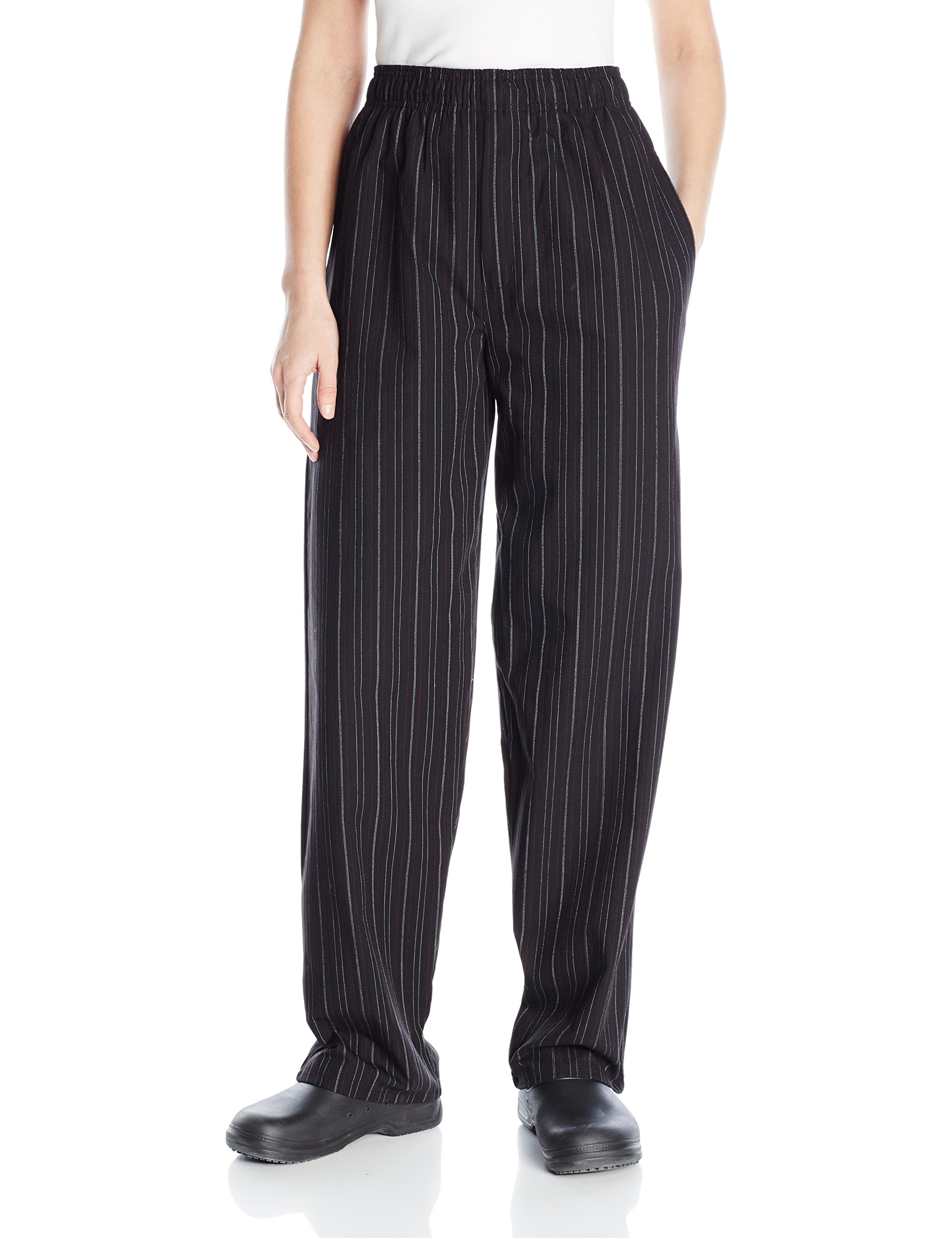Uncommon Threads Unisex Yarn Dyed Baggy Chef Pant, Red/White Pinstripe, Small