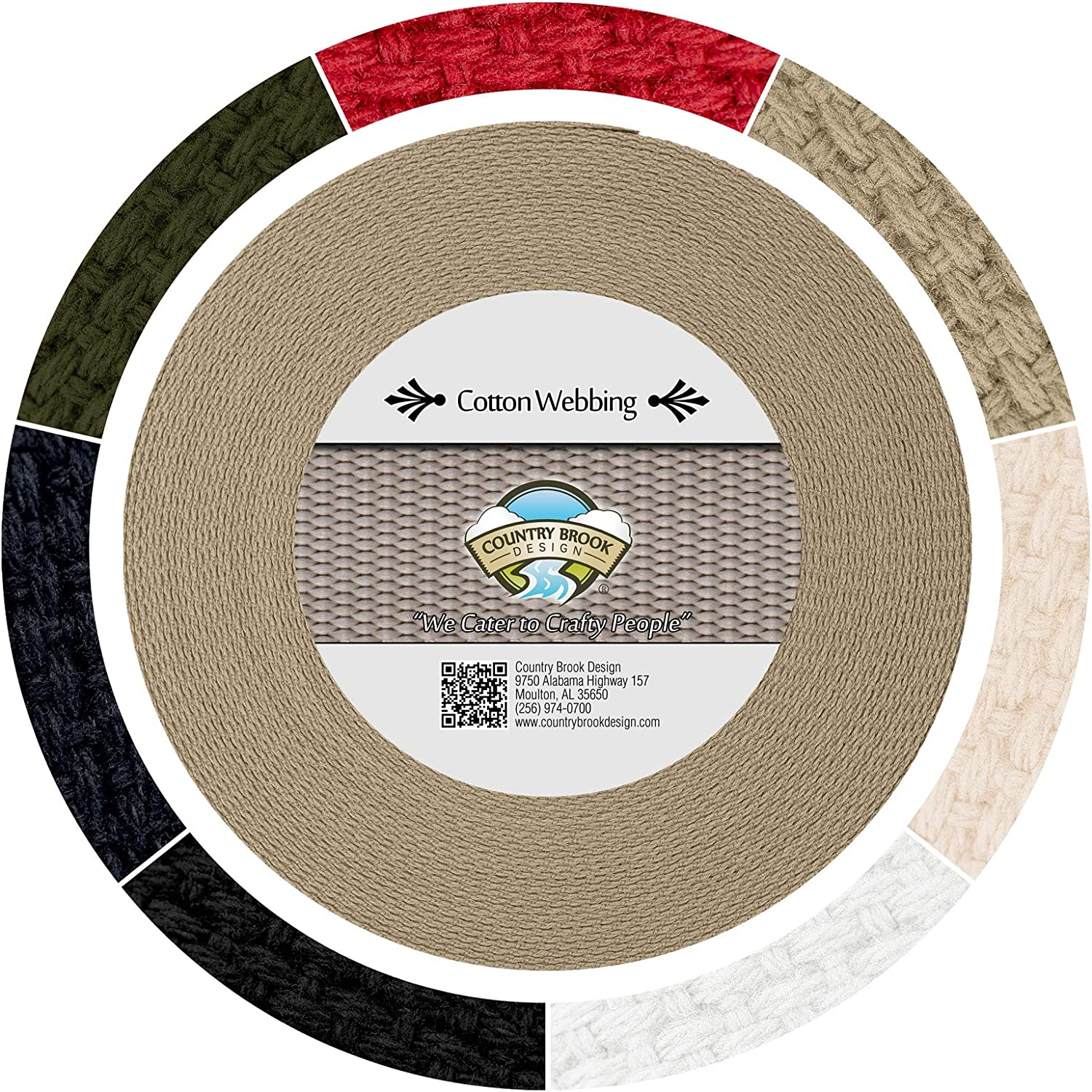 Country Brook Design® 1 Inch Brown Heavy Cotton Webbing 25 Yards