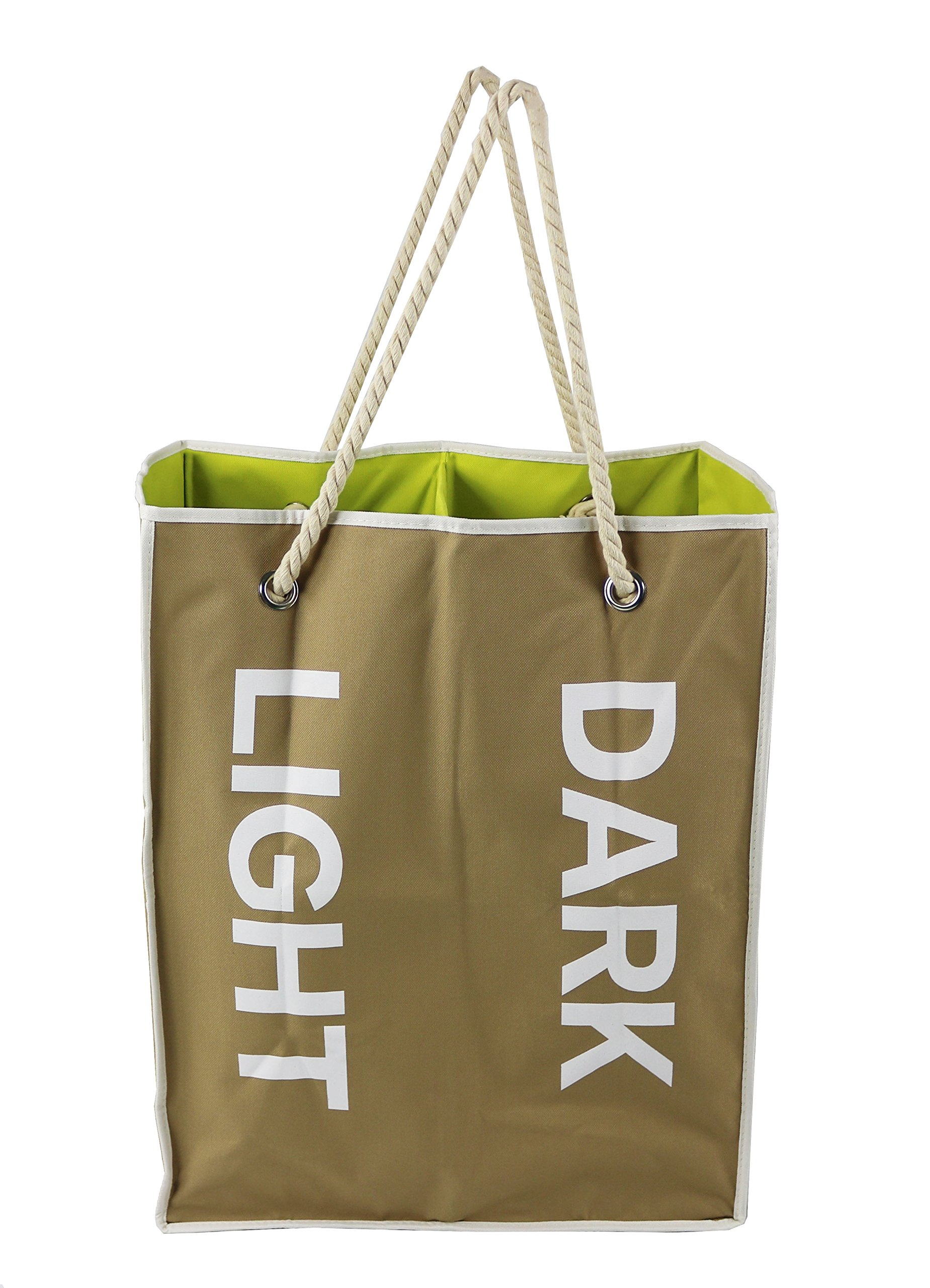 Essentials by Yoshi Foldable Double Laundry Bag/Hamper, Easy to carry, Heavy Duty, Durable, Compact (Beige)