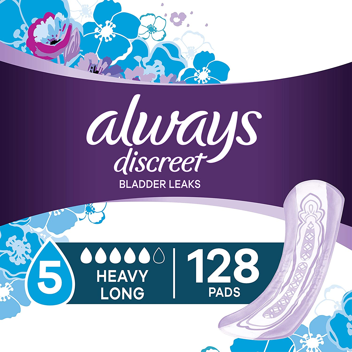 Always Discreet Incontinence Pads for Women, Heavy Absorbency, 128 Count, Long Length (2 Packs of 64 - 128 Count Total)