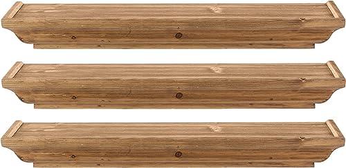 kieragrace Muskoka Fitz Wood Shelves – Walnut, 24-Inch, Set of 3