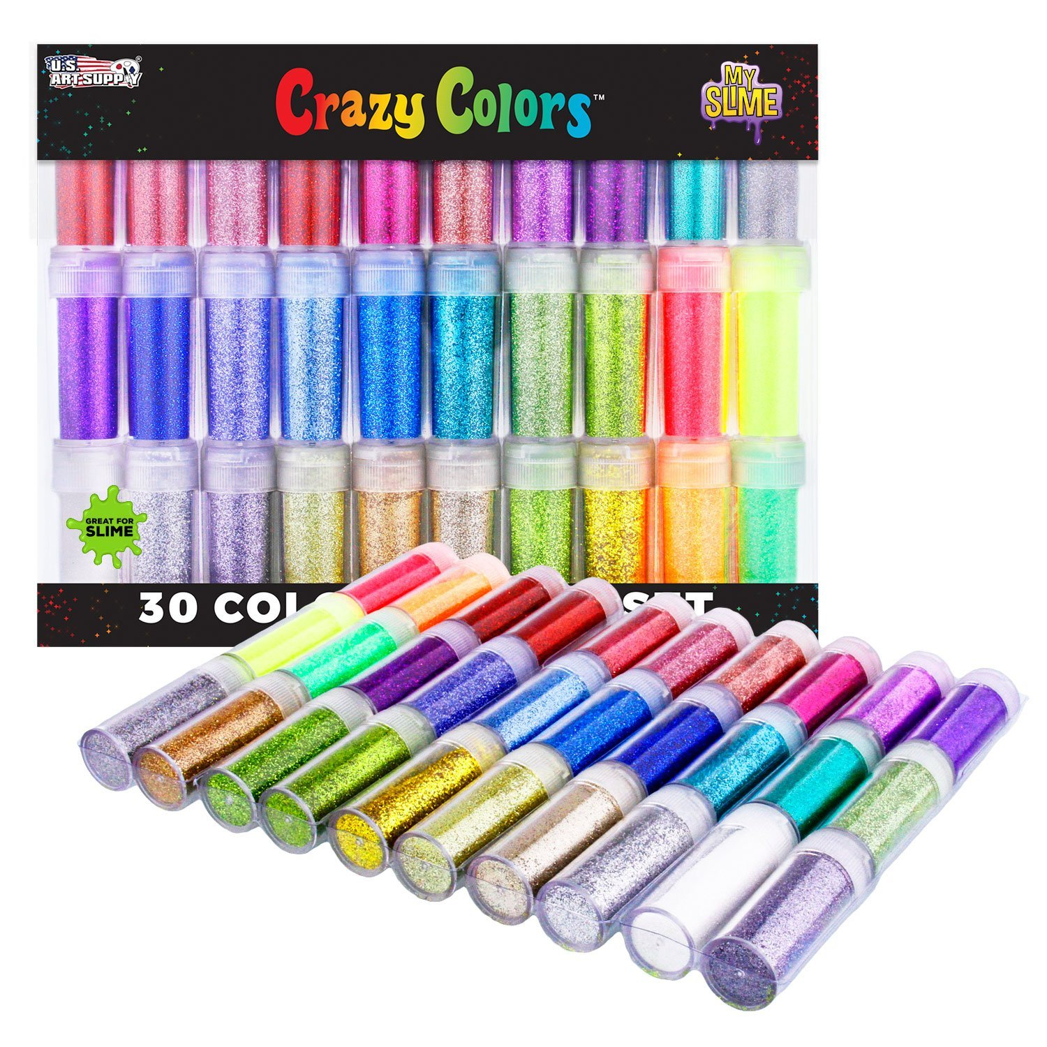 My Slime by U.S. Art Supply Crazy Colors 30 Color Deluxe Glitter Shake Jars Set Kit - Extra Fine Glitter in Large 10 Gram Bottles - Arts, Crafts, Scrapbooking, Body, Slime, Party, Holiday Crafts