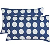 High Quality Luxurious Cotton Pillow Cover / Case Set (2 Pcs) with attractive piping by Ahmedabad Cotton - Blue