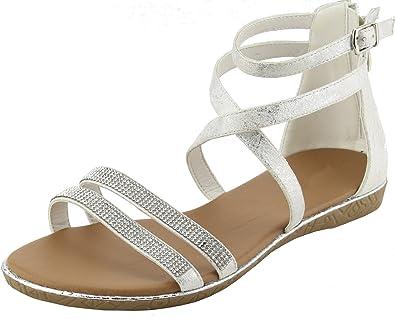 Cambridge Select Womens Crisscross Strappy Slingback Flat Sandal