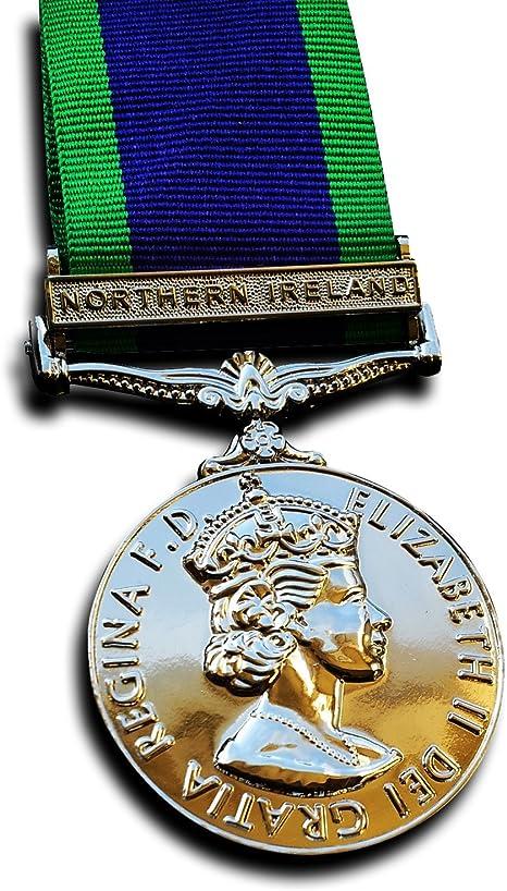 Goldbrothers13 Medalla Militar campaña de la Medalla de Servicio General Medalla de Irlanda del Norte 1962 Servicio Repro: Amazon.es: Deportes y aire libre