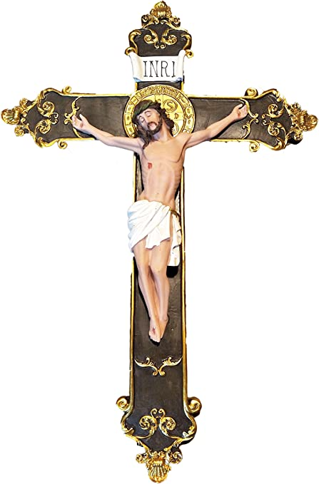 Inri Jesus Christ 10 inch Resin Stone Wall Cross Crucifix