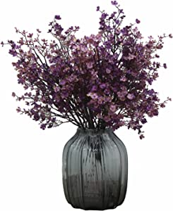 JAKY Global Babys Breath Fabric Cloth Artificial Flowers 6 Bundle European Fake Silk Plants Decor Wedding Party Decoration Bouquets Real Touch DIY Home Garden (Purple Pink-6pcs)
