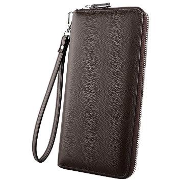 Luxspire RFID Carteras Largo Billeteras con Monederos para Hombre Mujer de Piel con Grande Capacidad, Diseño Bolsillo para Teléfono, Café
