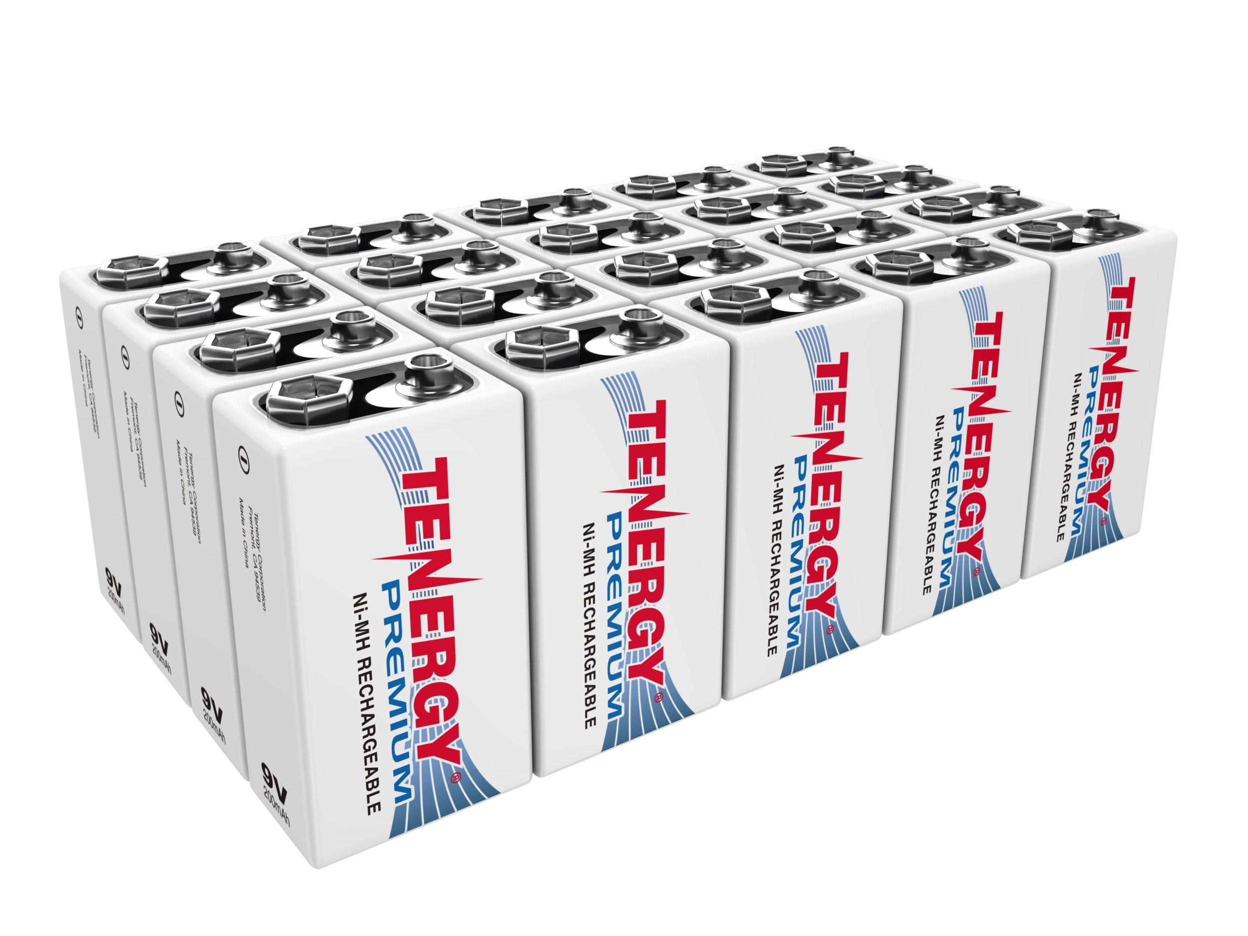 20 pcs of Tenergy Premium 9V 200mAh NiMH Rechargeable Batteries