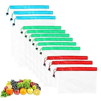 QH-Shop Bolsas de la Compra, Bolsas de Malla Reutilizables Ecológicas Bolsa de Malla para Almacenamiento Fruta Verduras Juguetes Lavable y ...