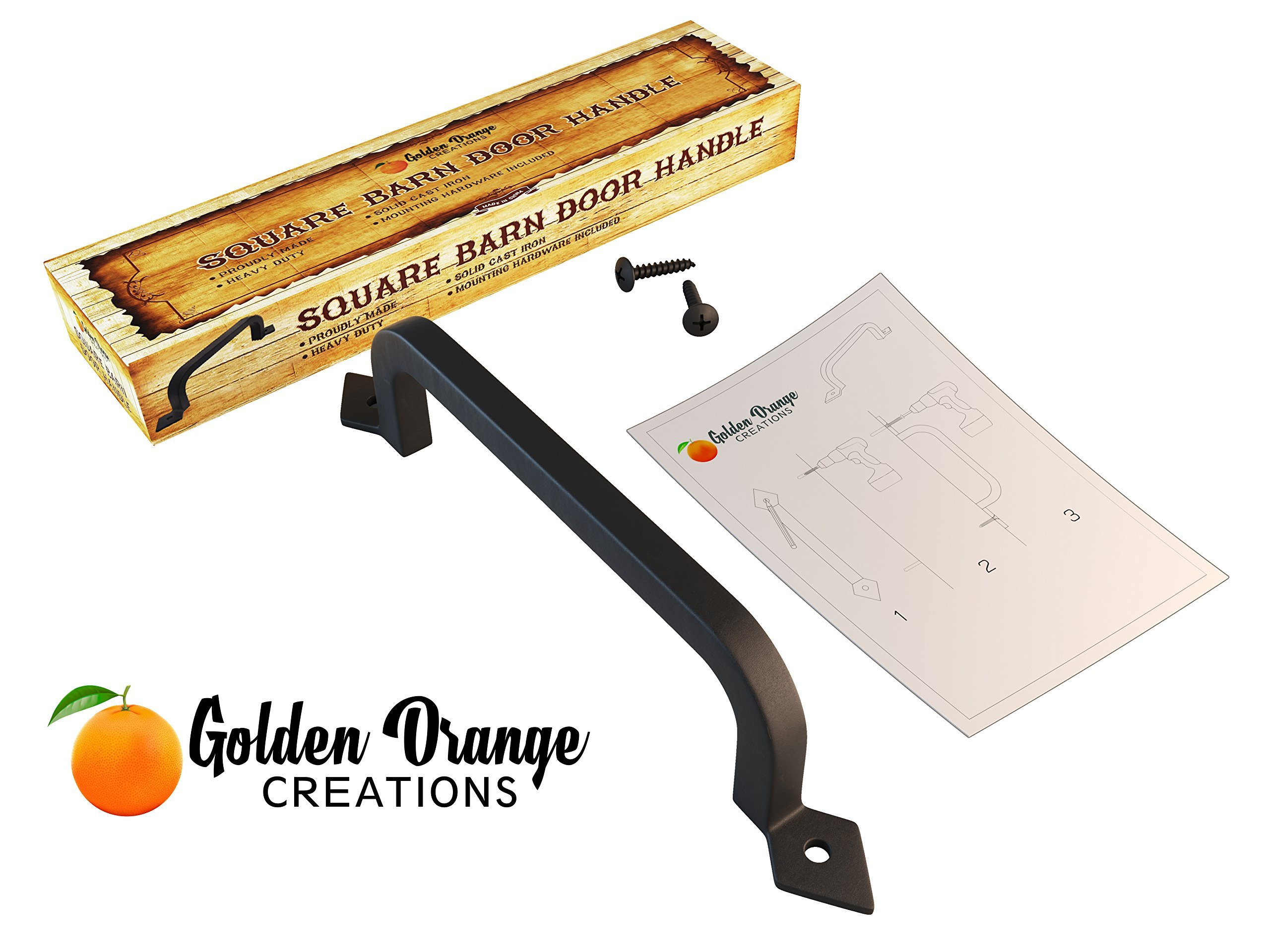 9-3/4'' Antique Barn Door Pull Handle with 2 Matching Black Screws - for Custom and Luxury Sliding Barn Doors, Pantry, Closet, Furniture, Garage, Gate, Shed - Solid Cast Iron Hardware Handle by Golden Orange Creations (Image #8)